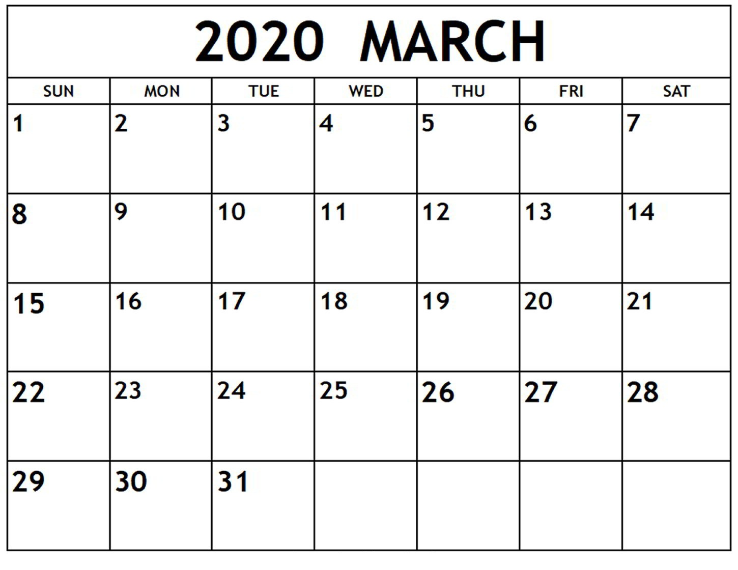 Calendar March 2020 Monthly