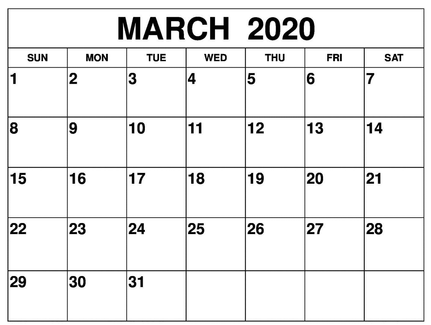 Calendar March 2020 Template
