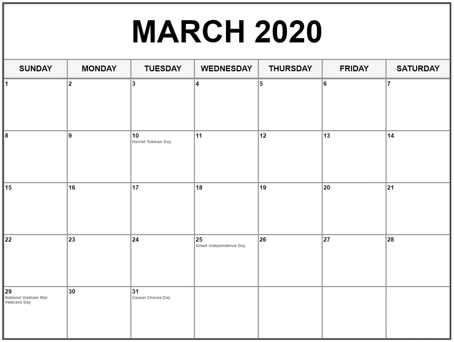 Calendar March 2020 With Holidays