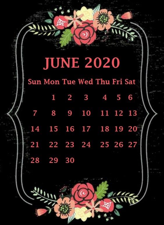 Cute 2020 June Calendar