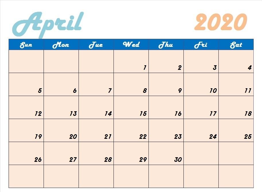 Cute April 2020 Blank Calendar