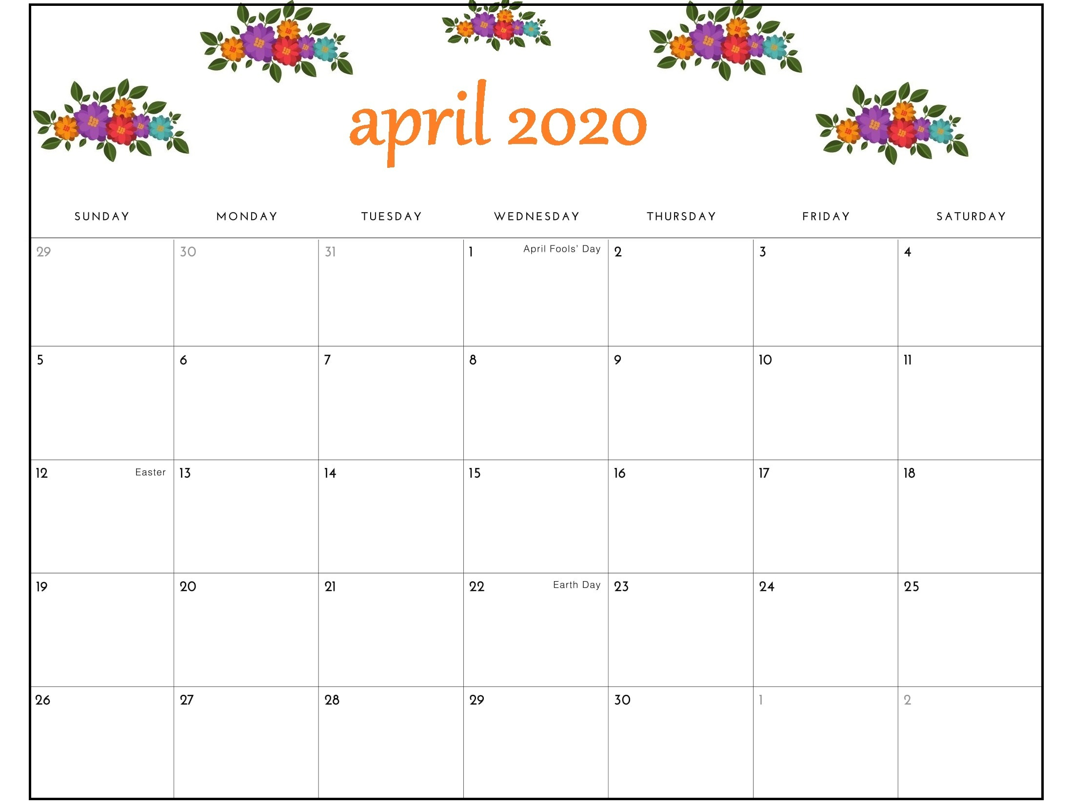 Cute April 2020 Calendar PDF
