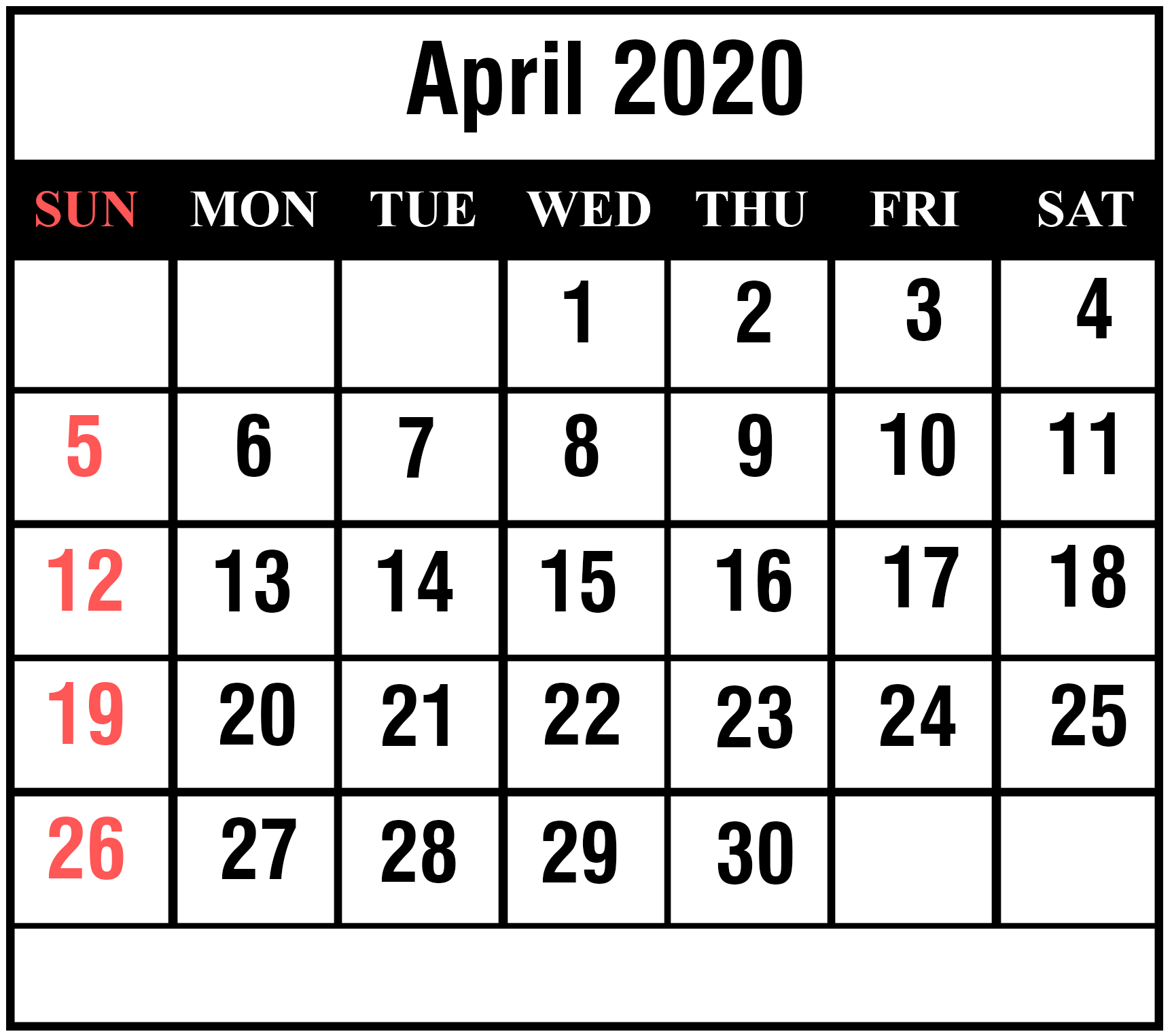Cute April 2020 Calendar With Holidays