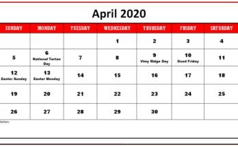 Cute April 2020 Calendar Word