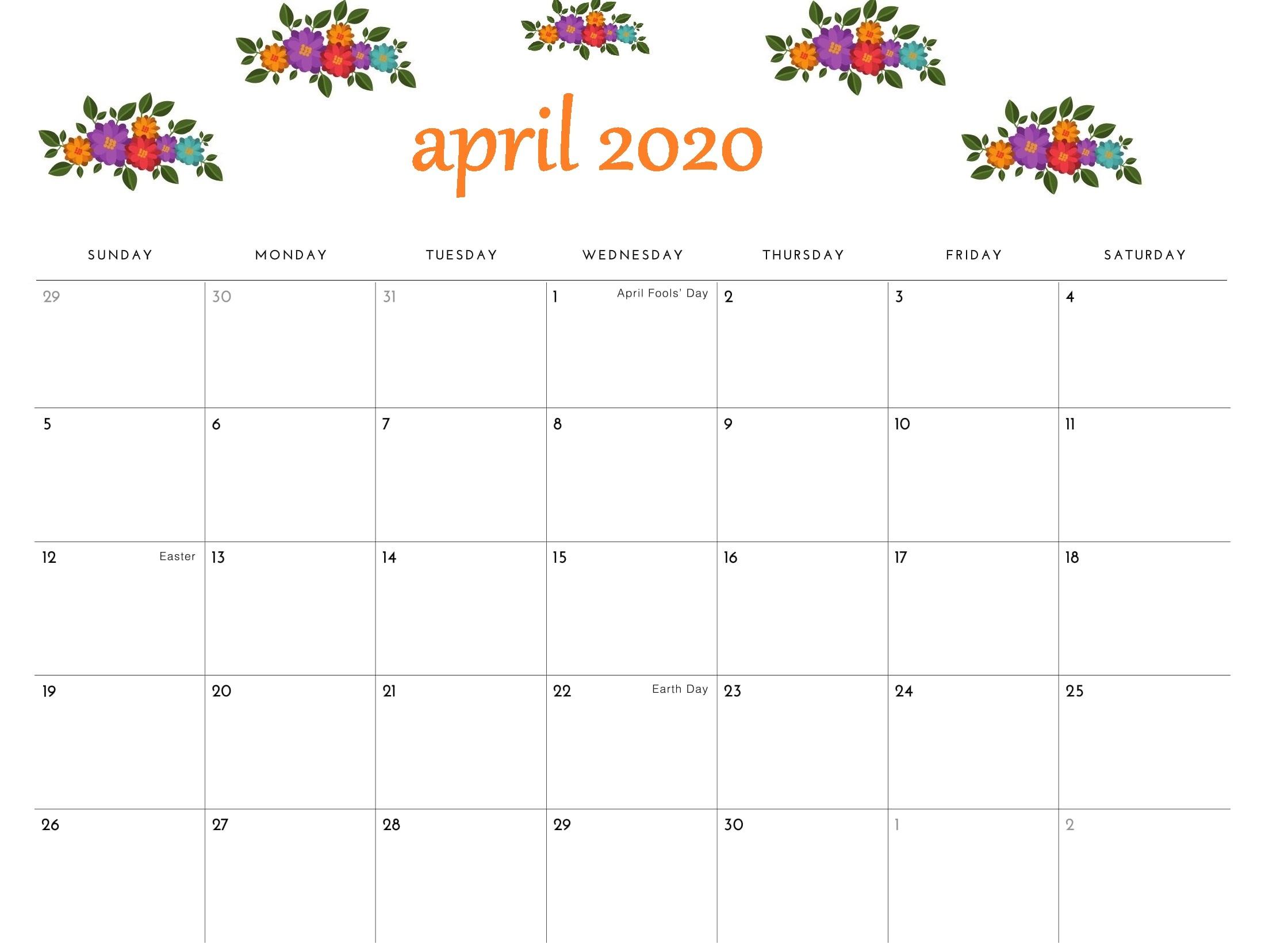 Cute April 2020 Monthly Calendar