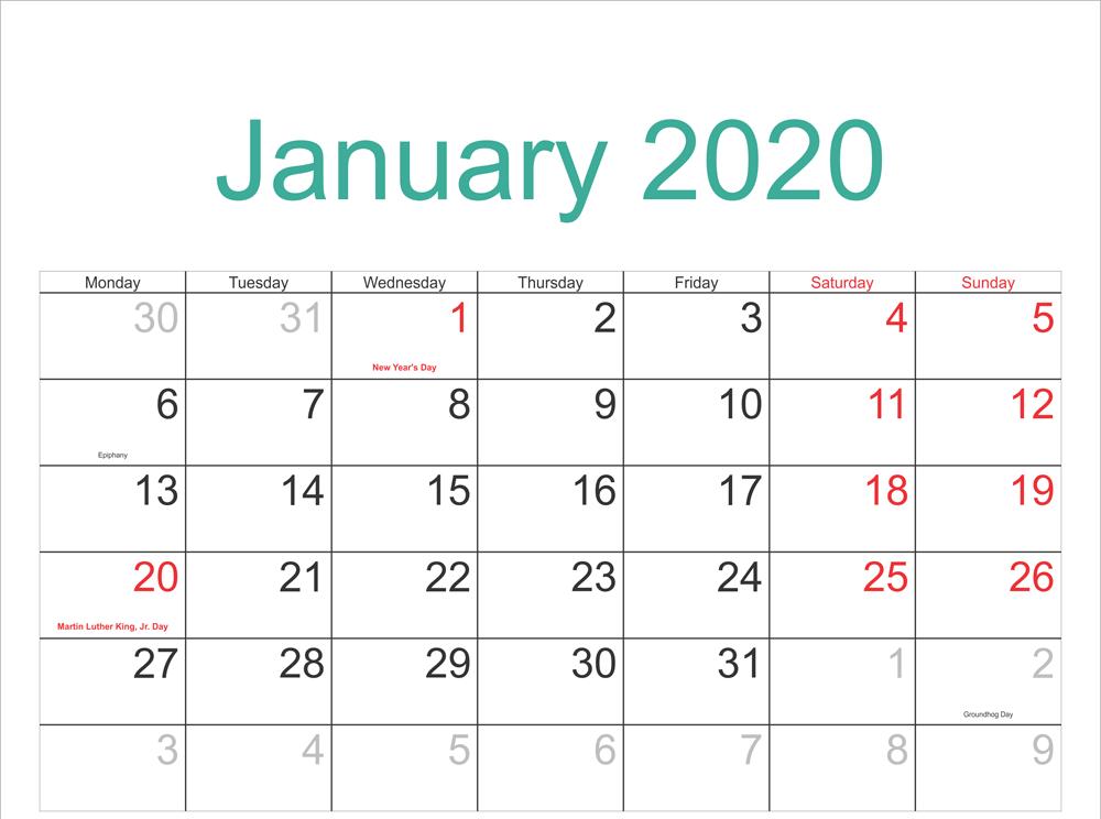Cute January 2020 Calendar With Holidays