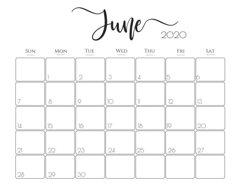 Cute June 2020 Calendar Free