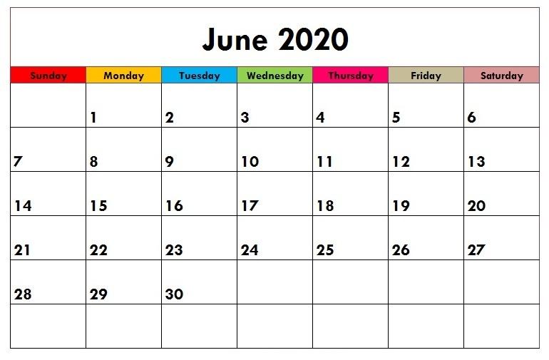 Cute June 2020 Calendar Lunar