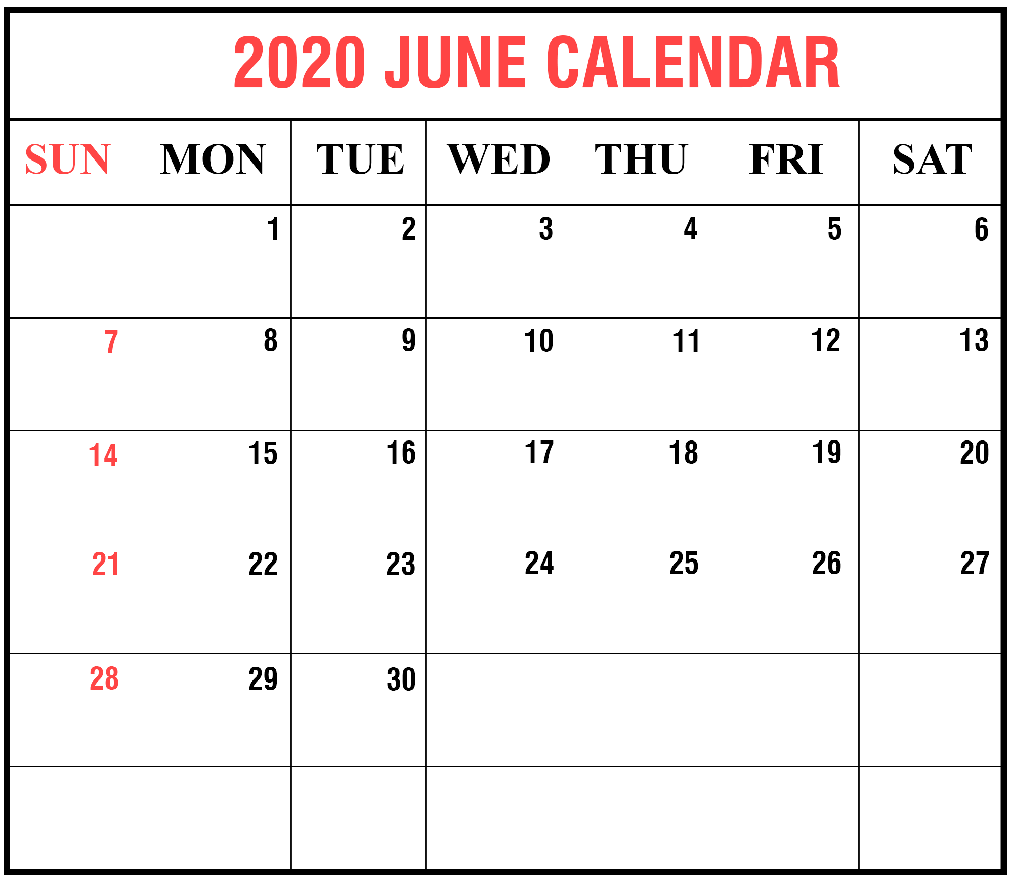 Cute June 2020 Calendar Printable