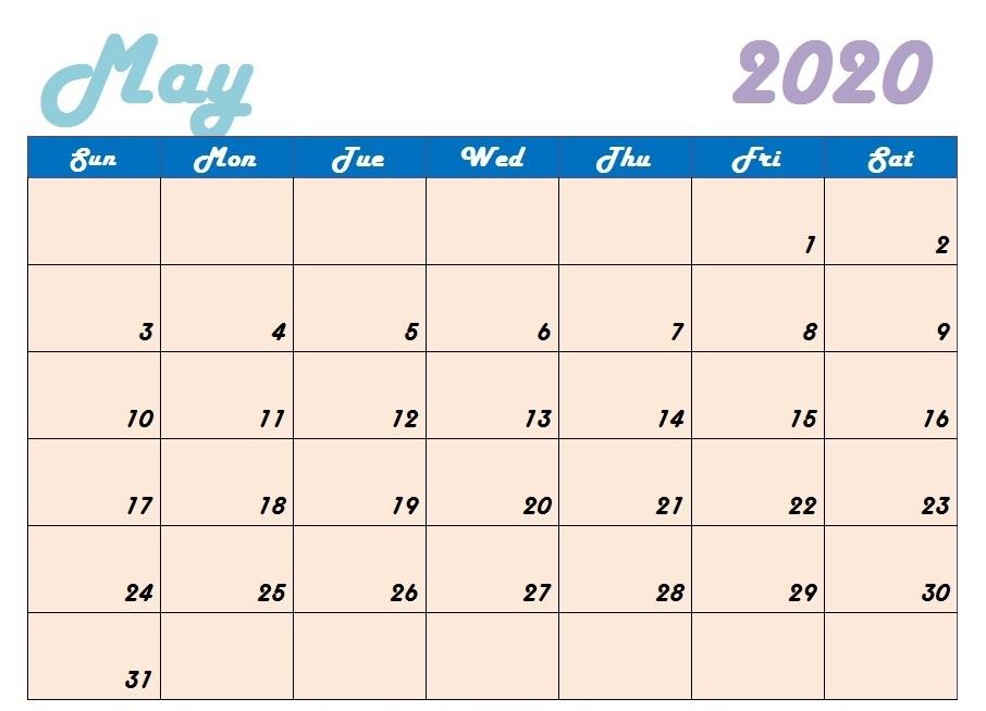Cute May 2020 Calendar ForMAT