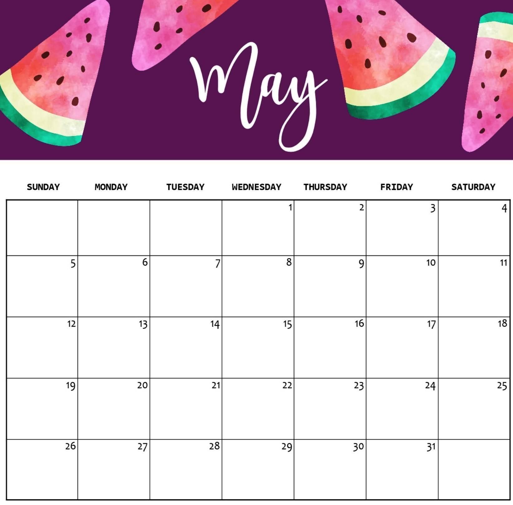 Cute May 2020 Calendar Free