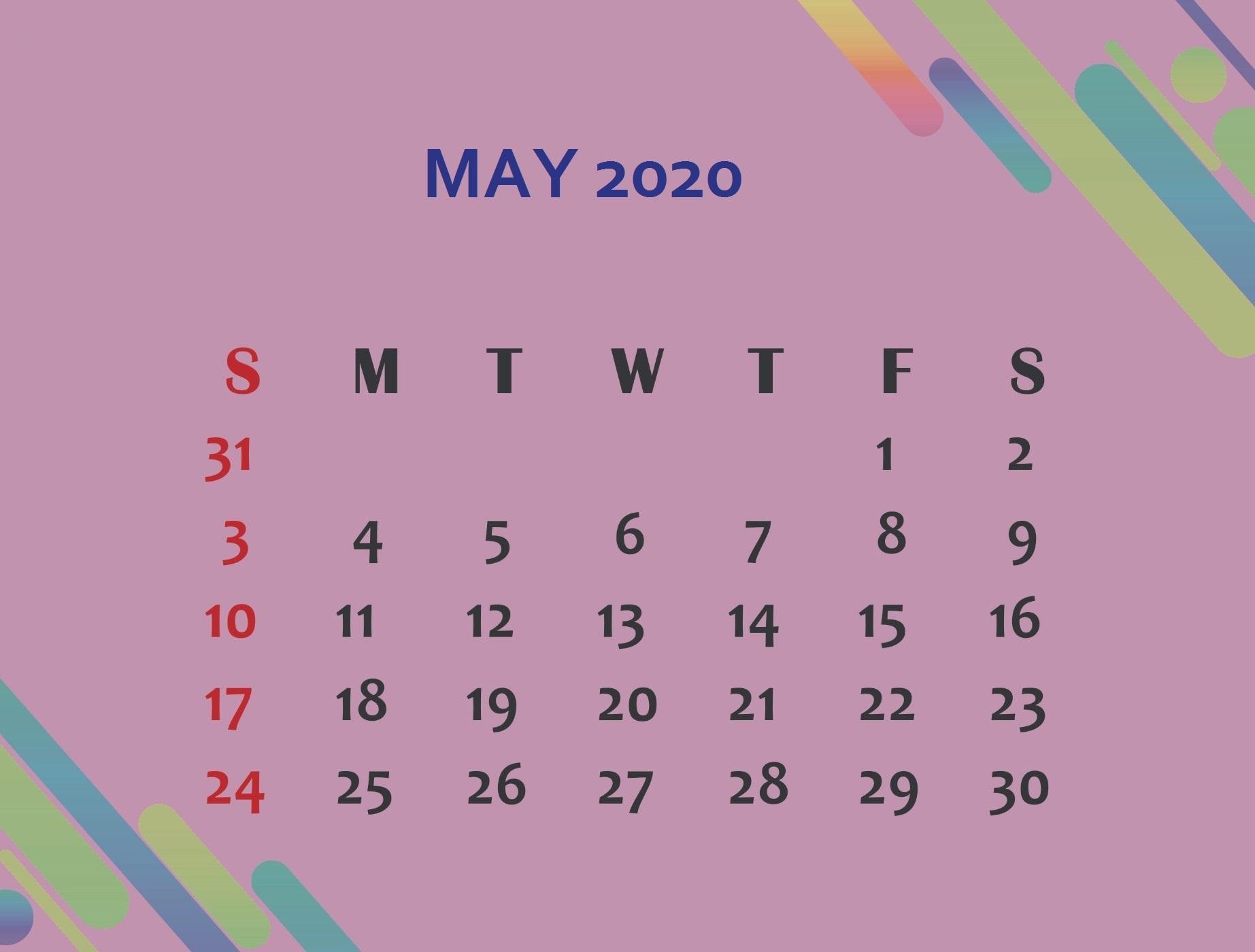 Cute May Calendar 2020
