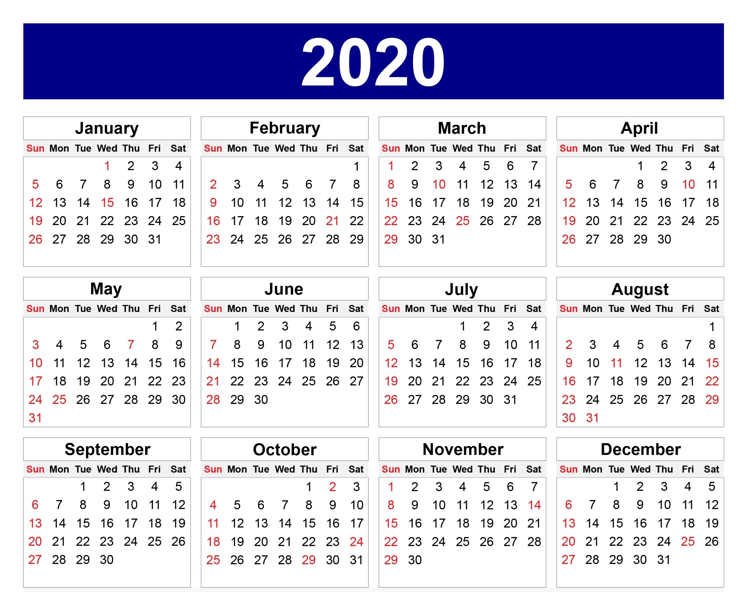 Download 2020 Calendar With Holidays