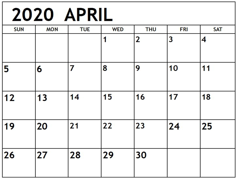 Download April 2020 Calendar Excel