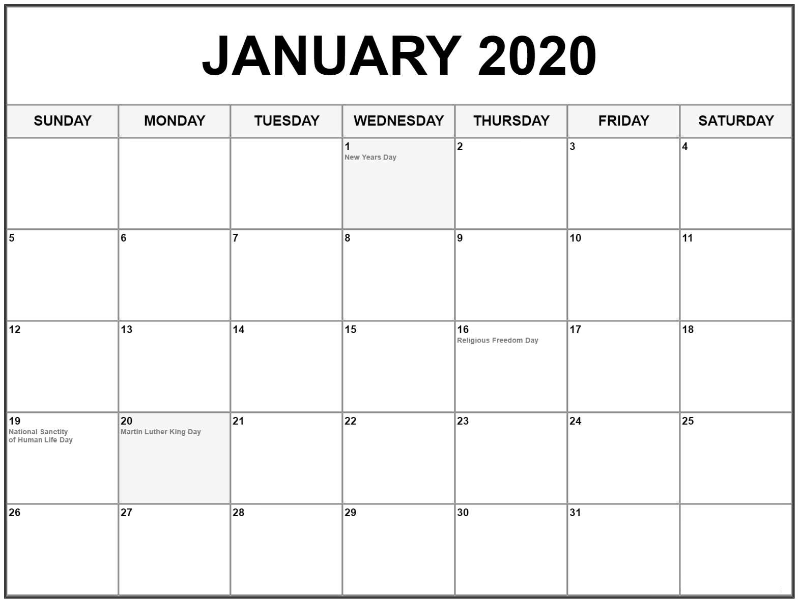 Download January 2020 Calendar With Holidays