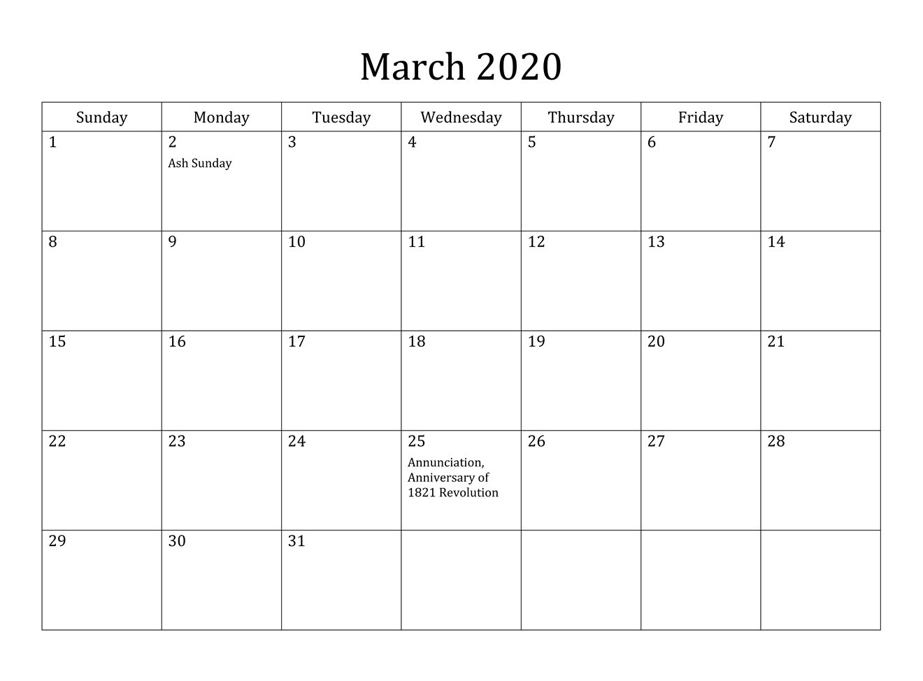 Download March 2020 Calendar With Holiday