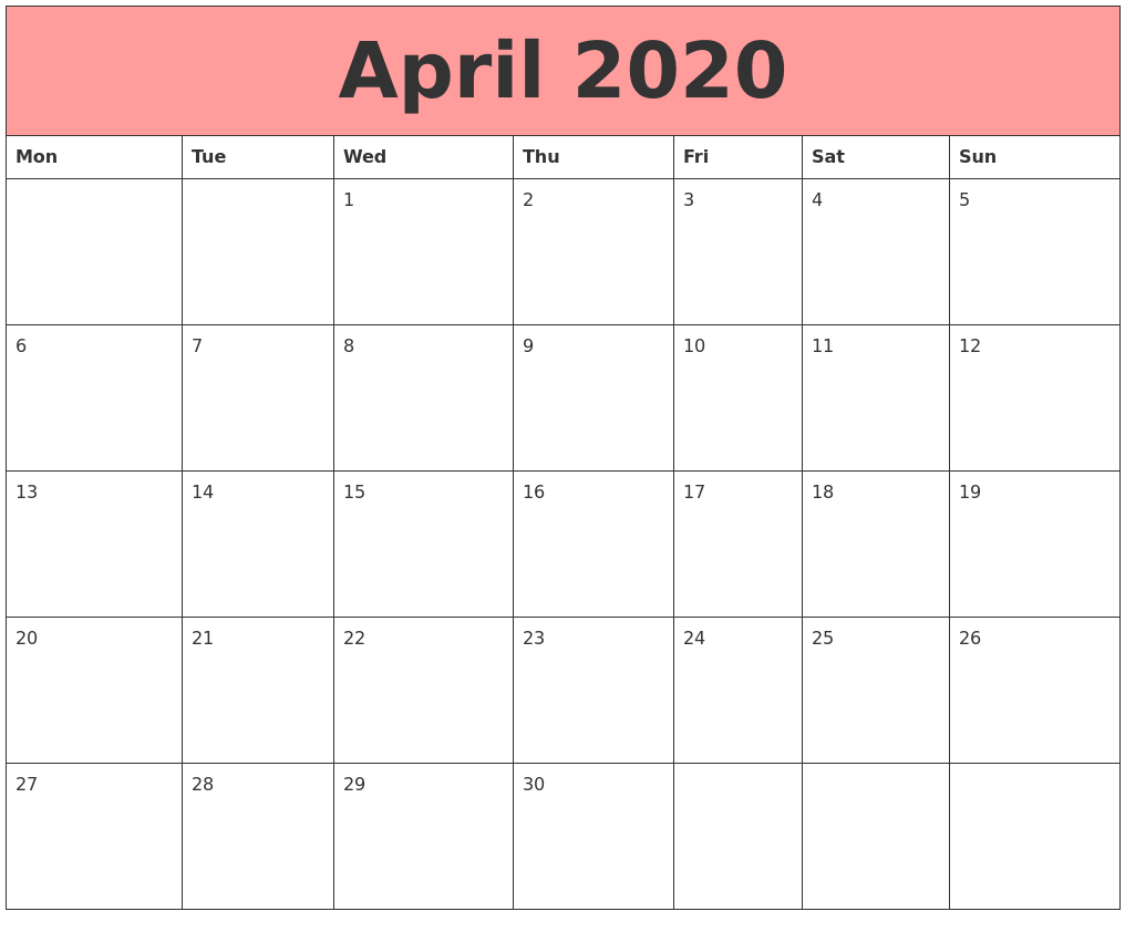 Excel Cute April 2020 Calendar