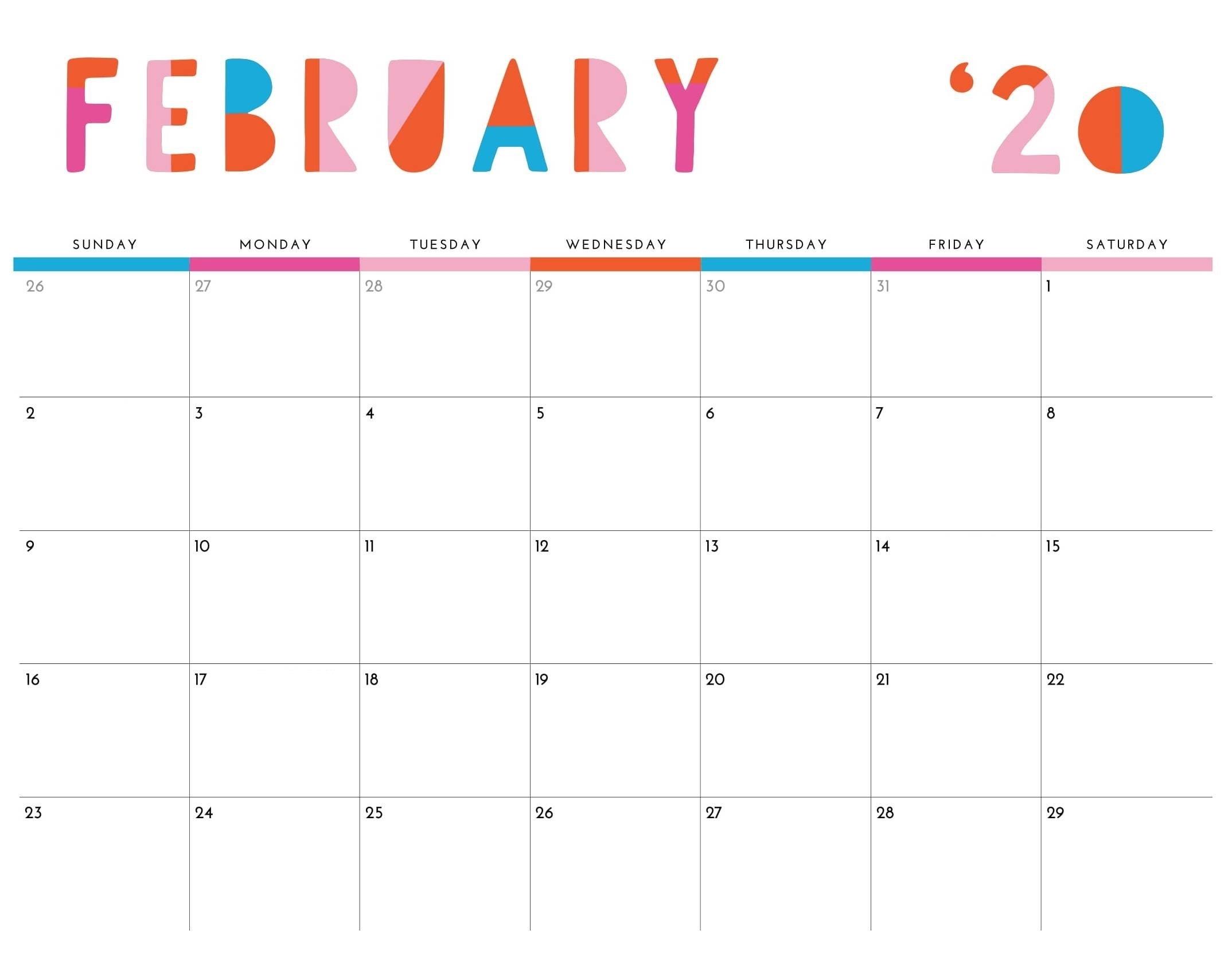 Excel February 2020 Calendar
