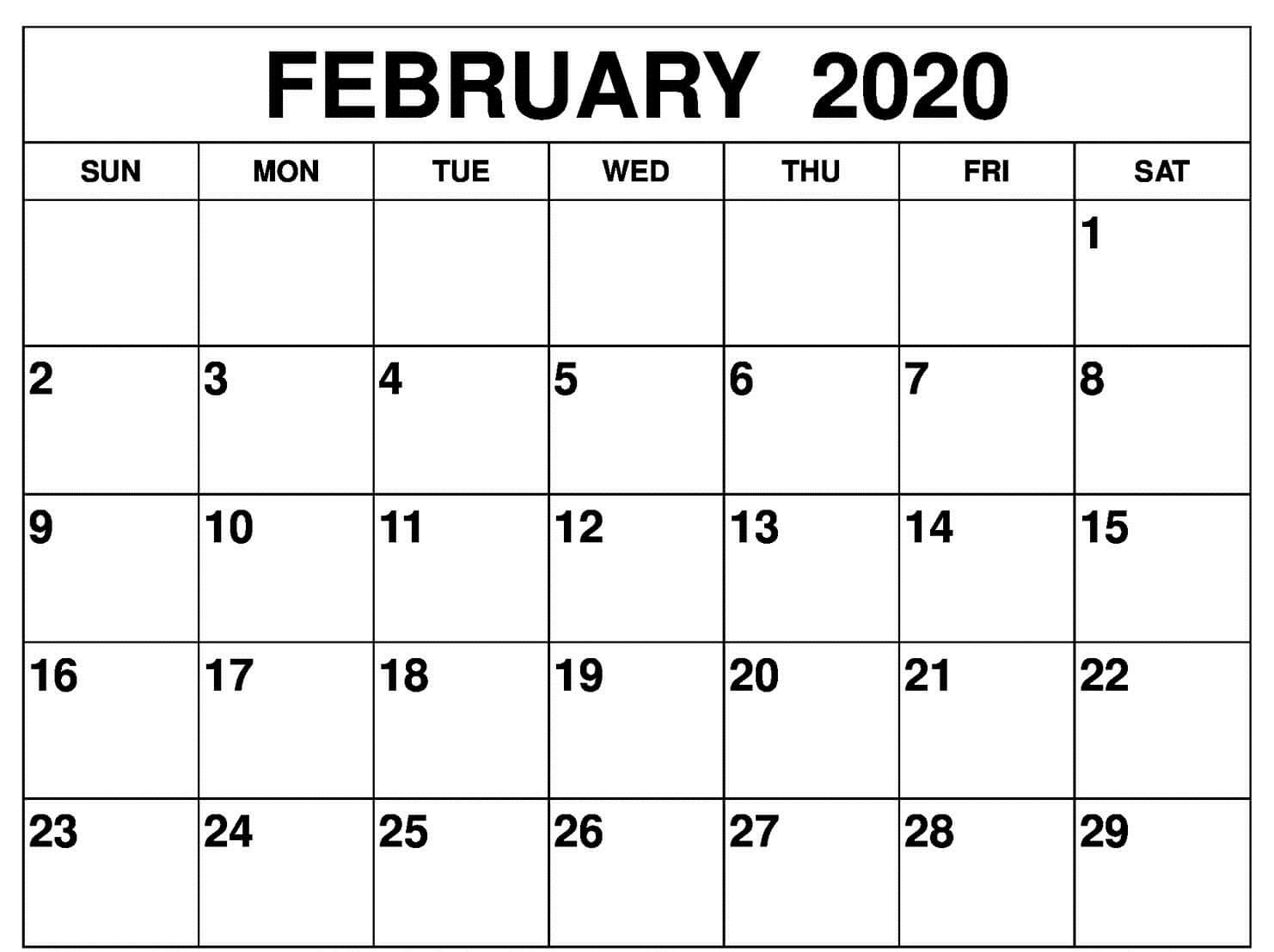February 2020 Calendar Excel