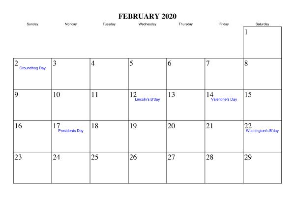 February 2020 Calendar Printable For Kids