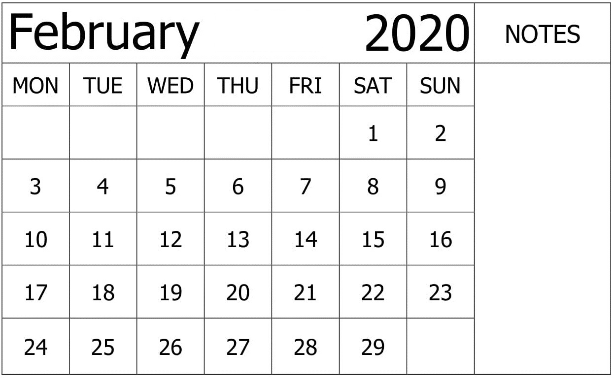 February 2020 Calendar Printable For School
