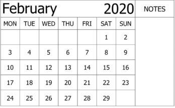 February 2020 Calendar Template Unique