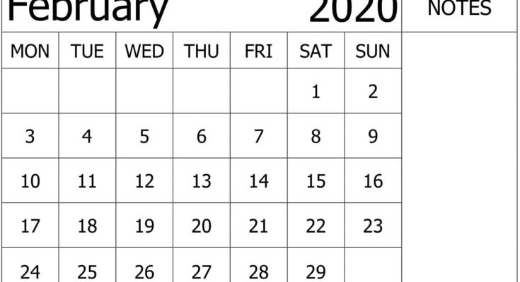 February 2020 Calendar Template Unique