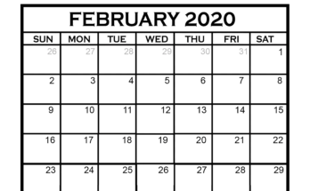 February 2020 Calendar US Holidays