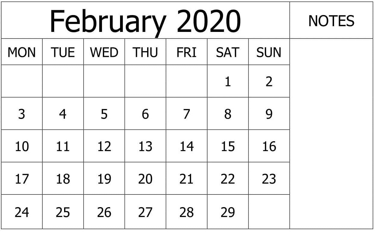 February 2020 Calendar Wallpaper PDF
