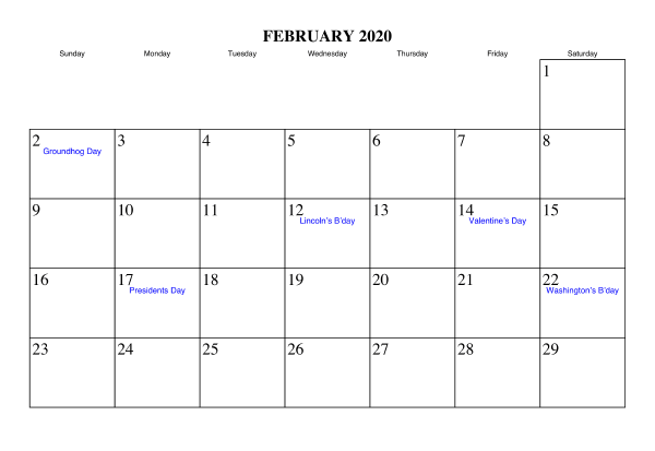 February 2020 Calendar With Holidays Free