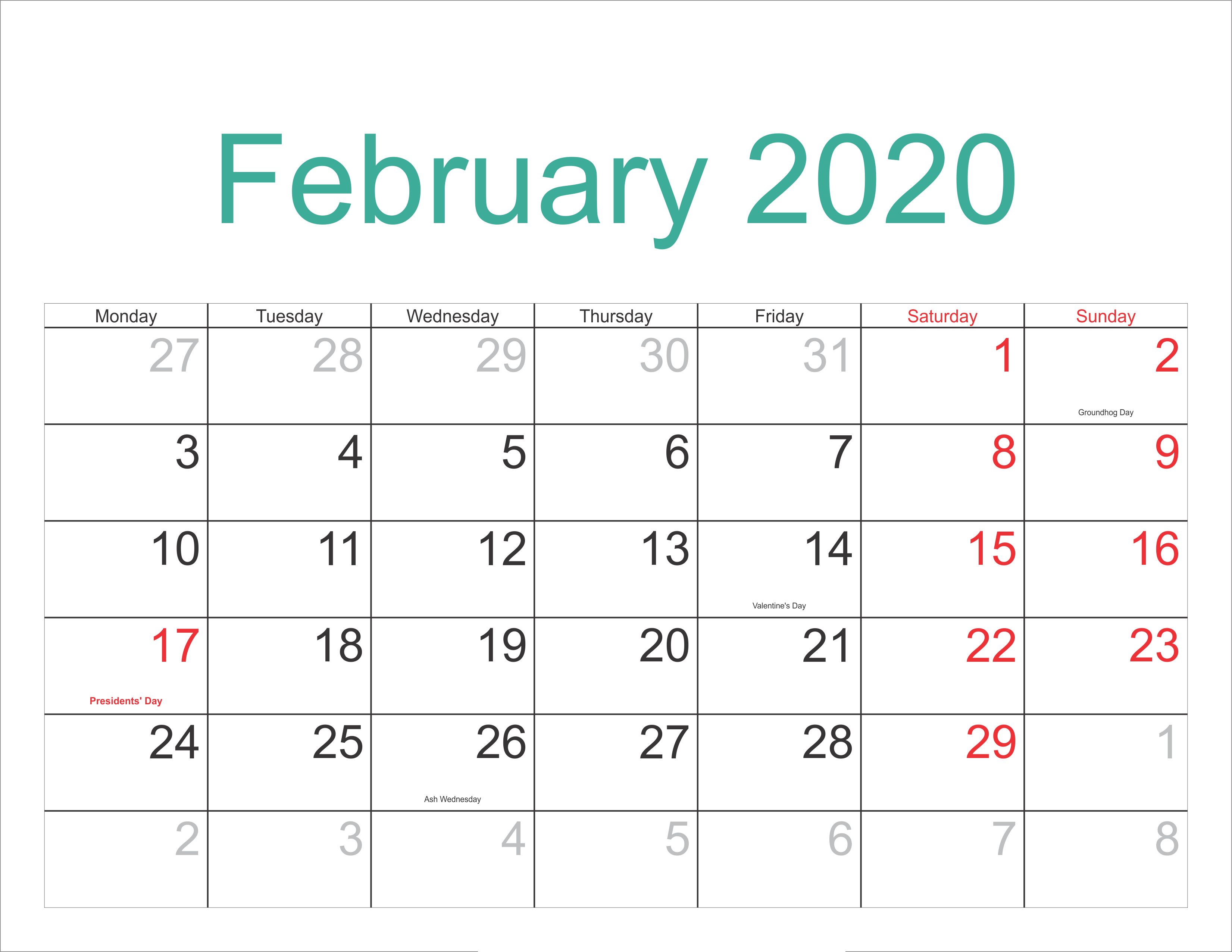 February 2020 Calendar With Holidays Sheet
