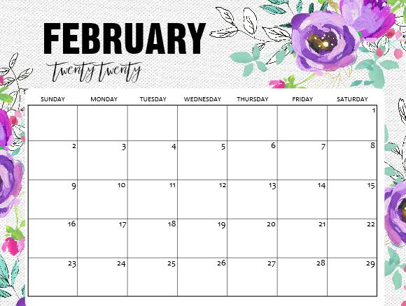 February 2020 Calendar for Kids