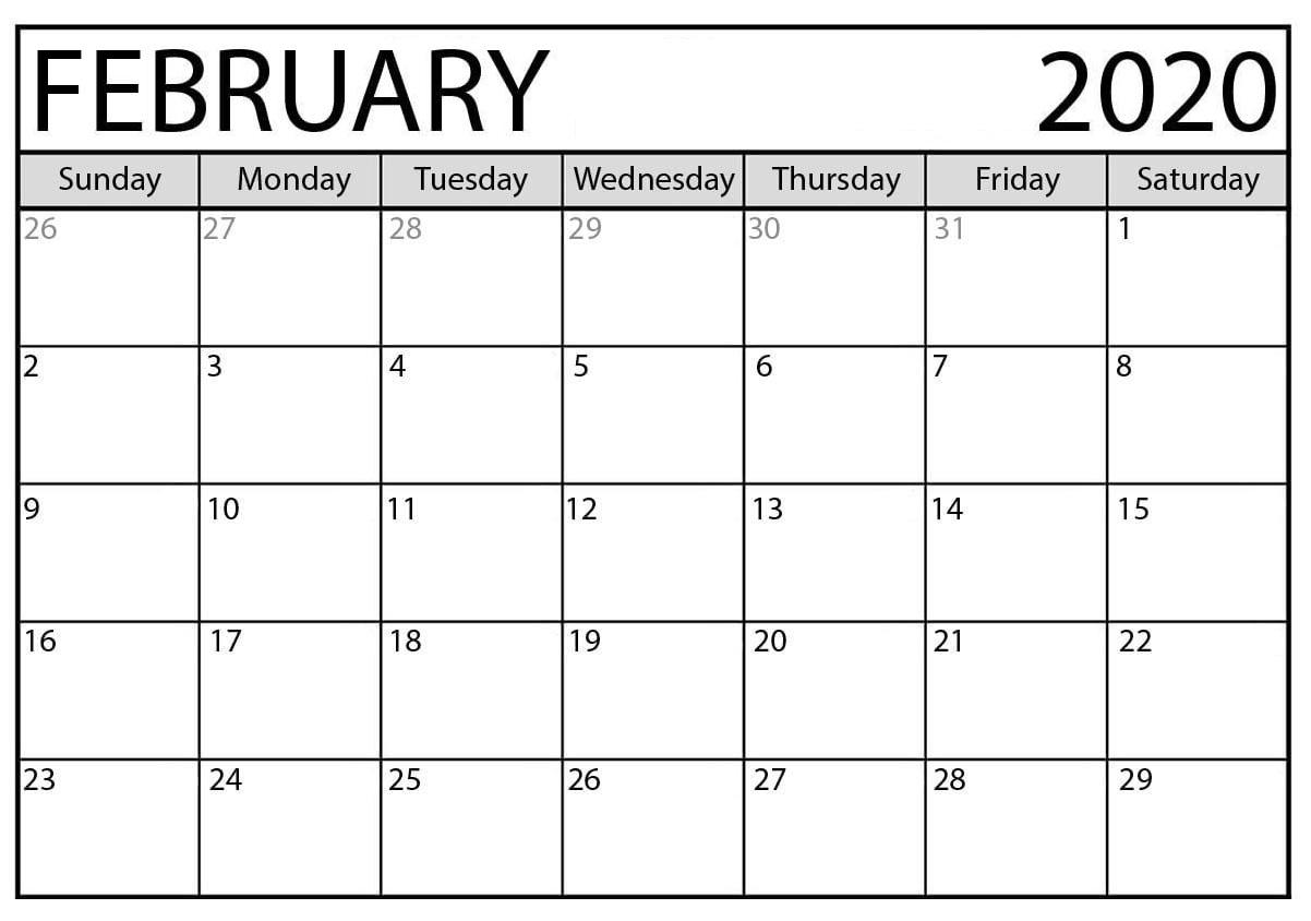 February 2020 Monthly Calendar