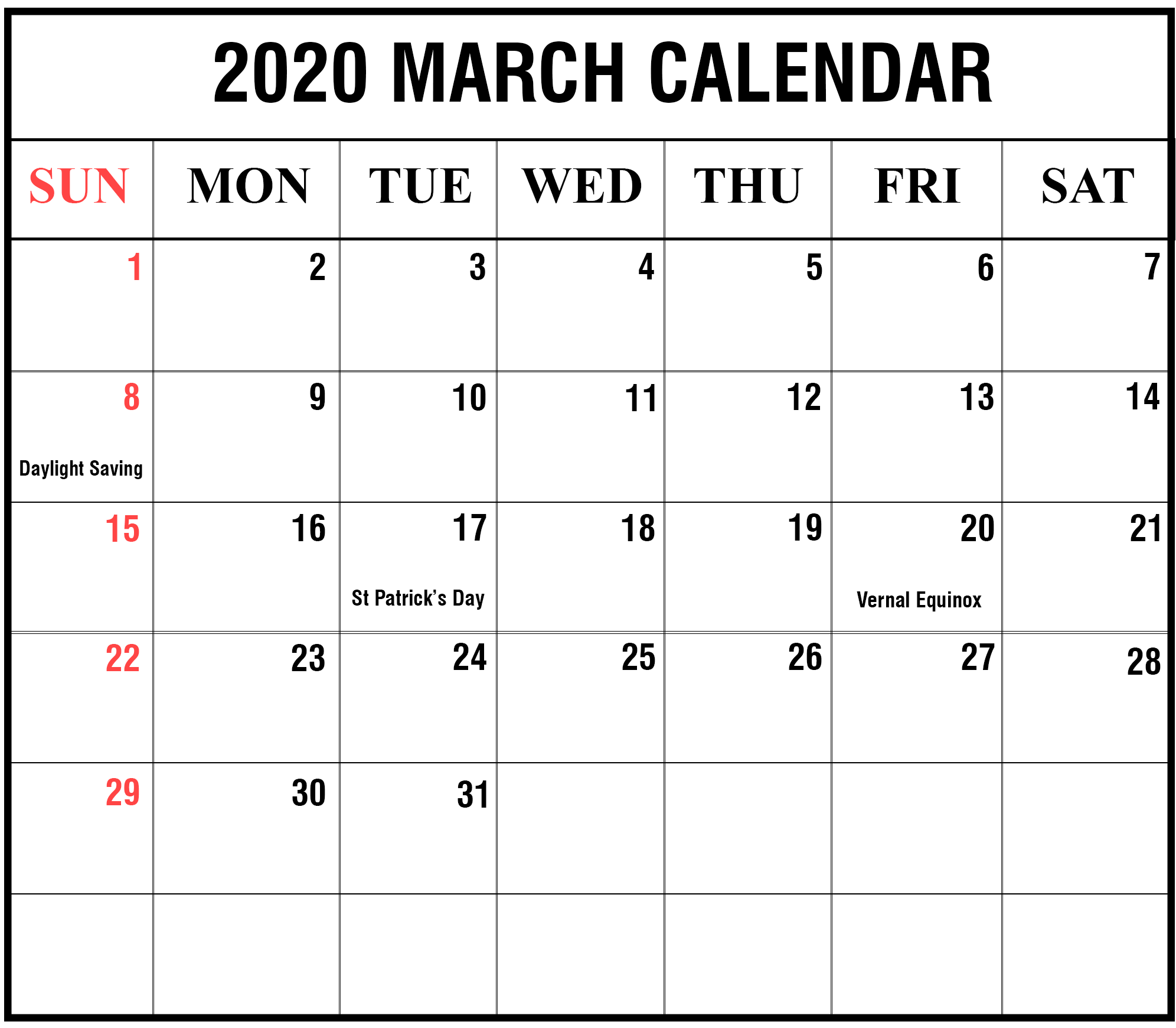 February 2020 Monthly Calendar For Kids