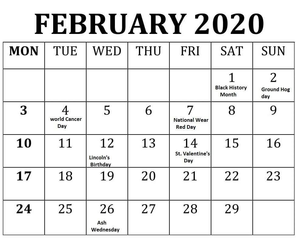 February 2020 Monthly Calendar Printable