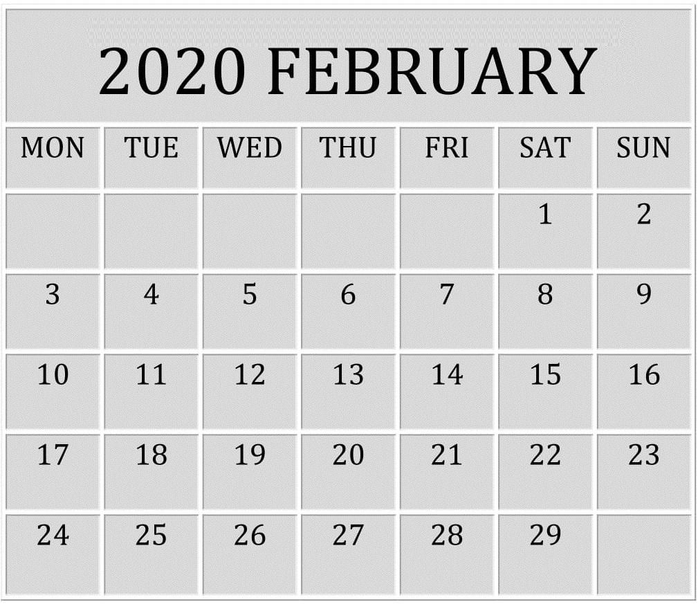 February 2020 Template Calendar Wallpaper