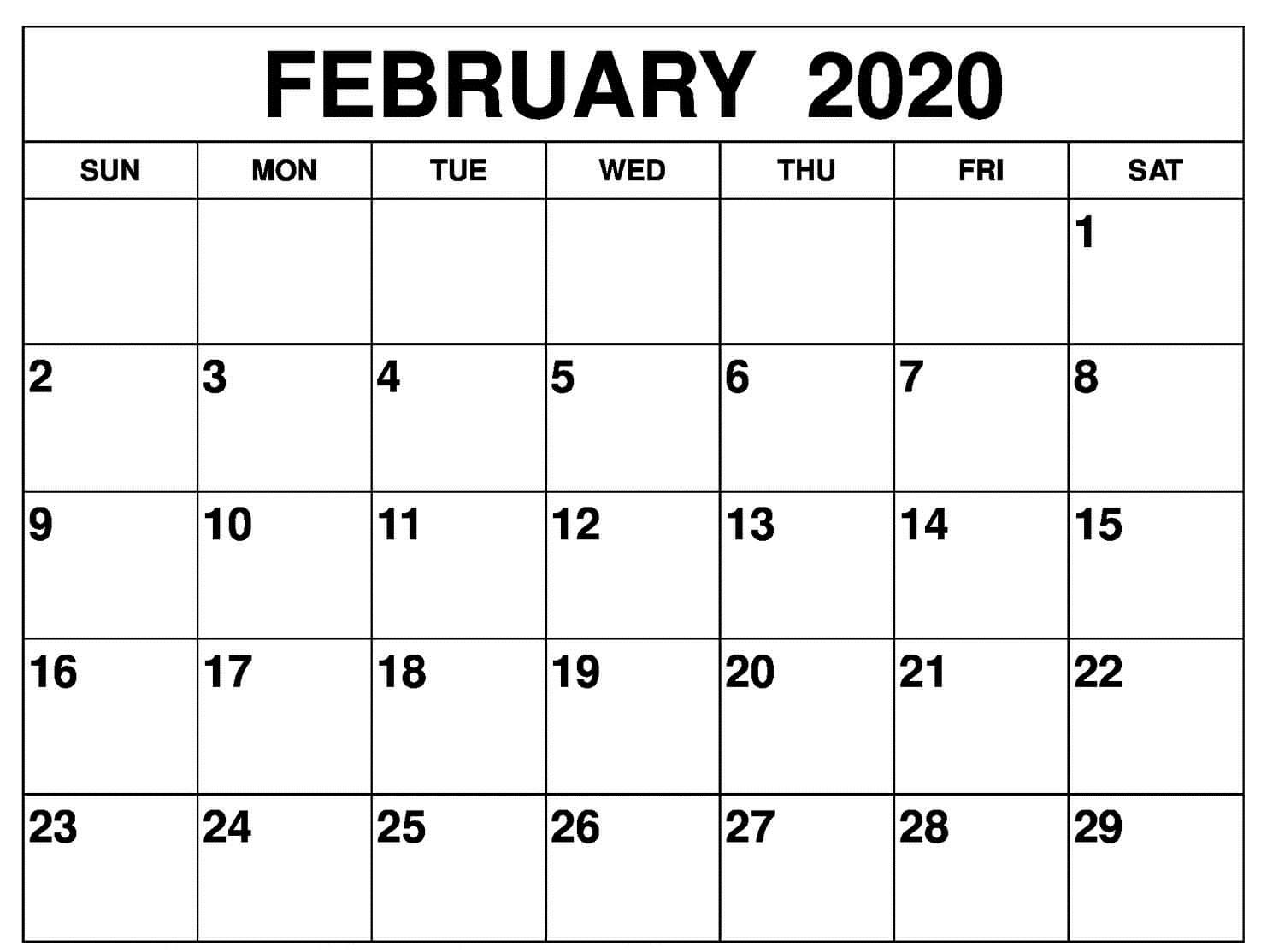 February Calendar 2020 PDF