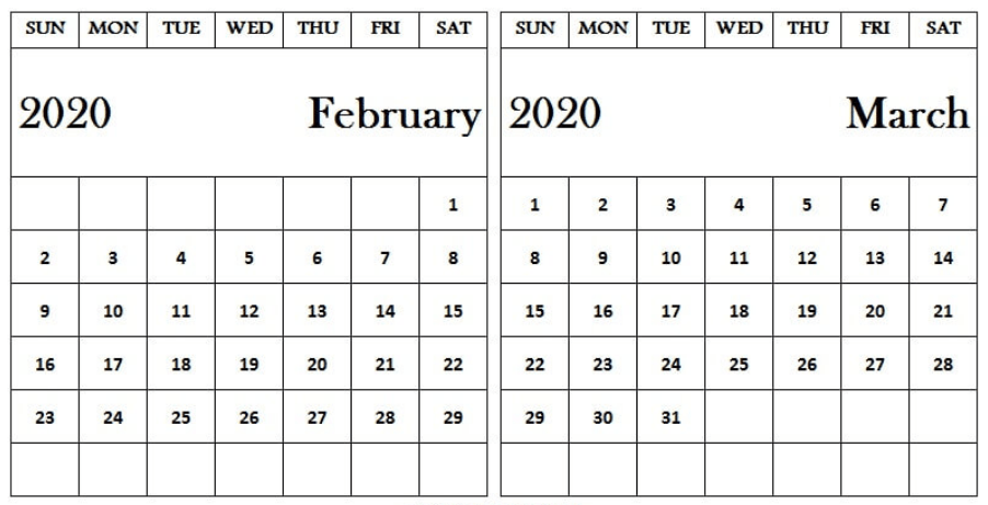 February March 2020 Calendar For Kids