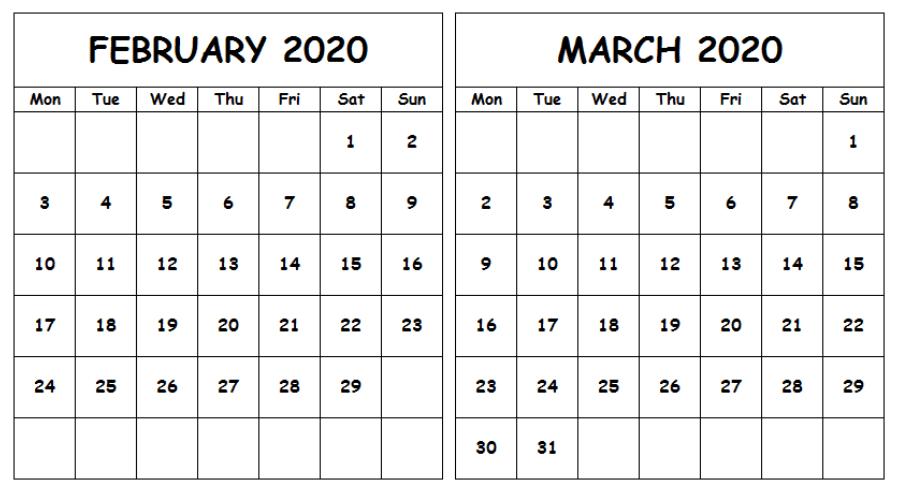 February March 2020 Calendar Free