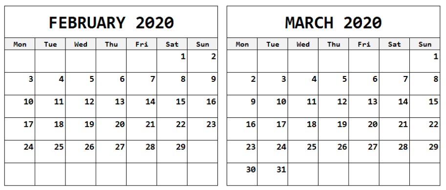 February March 2020 Calendar Landscape