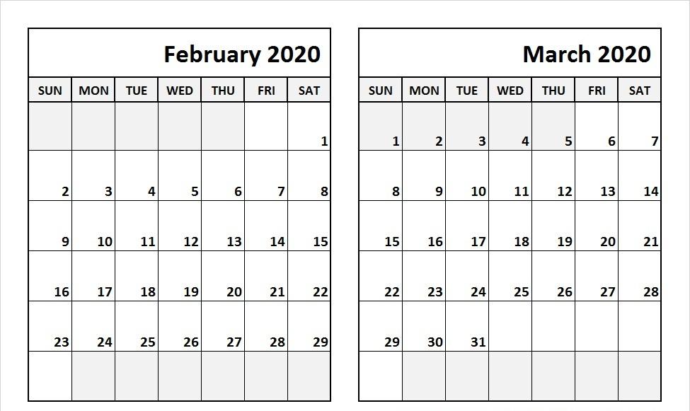 February March Calendar 2020