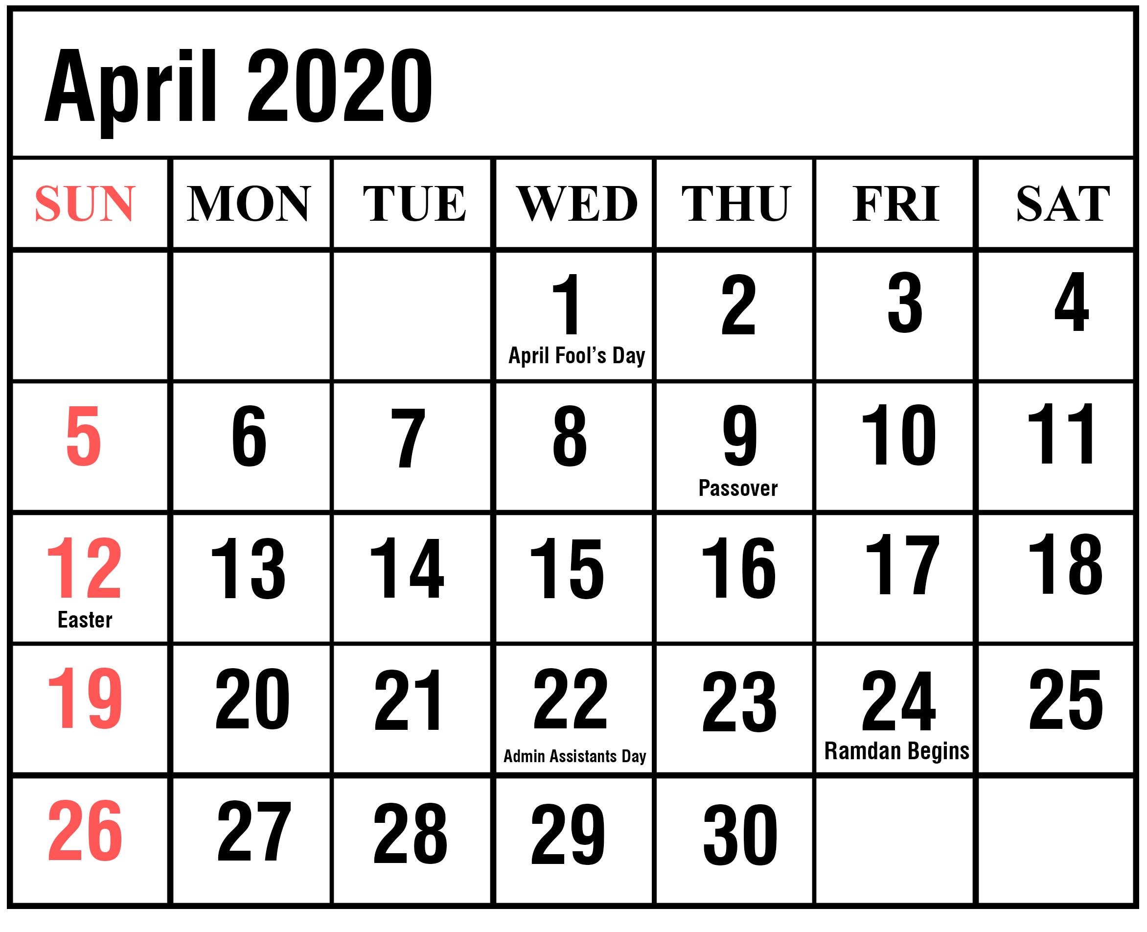 Free April 2020 Calendar Excel