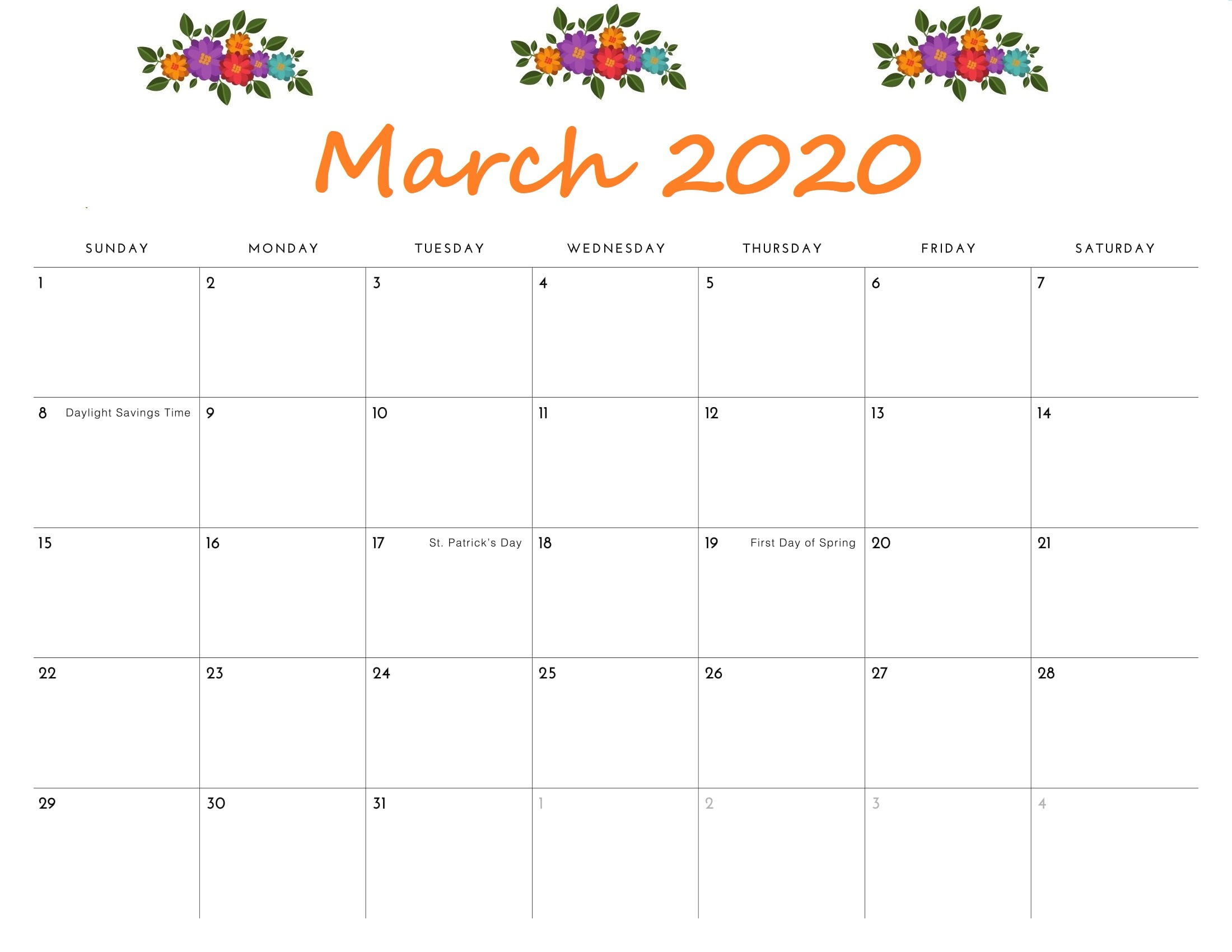 Free Calendar March 2020 Printable
