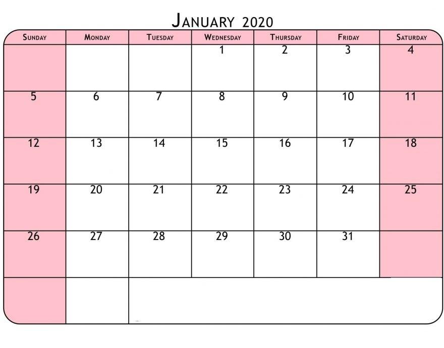 Free January 2020 Calendar With Holidays
