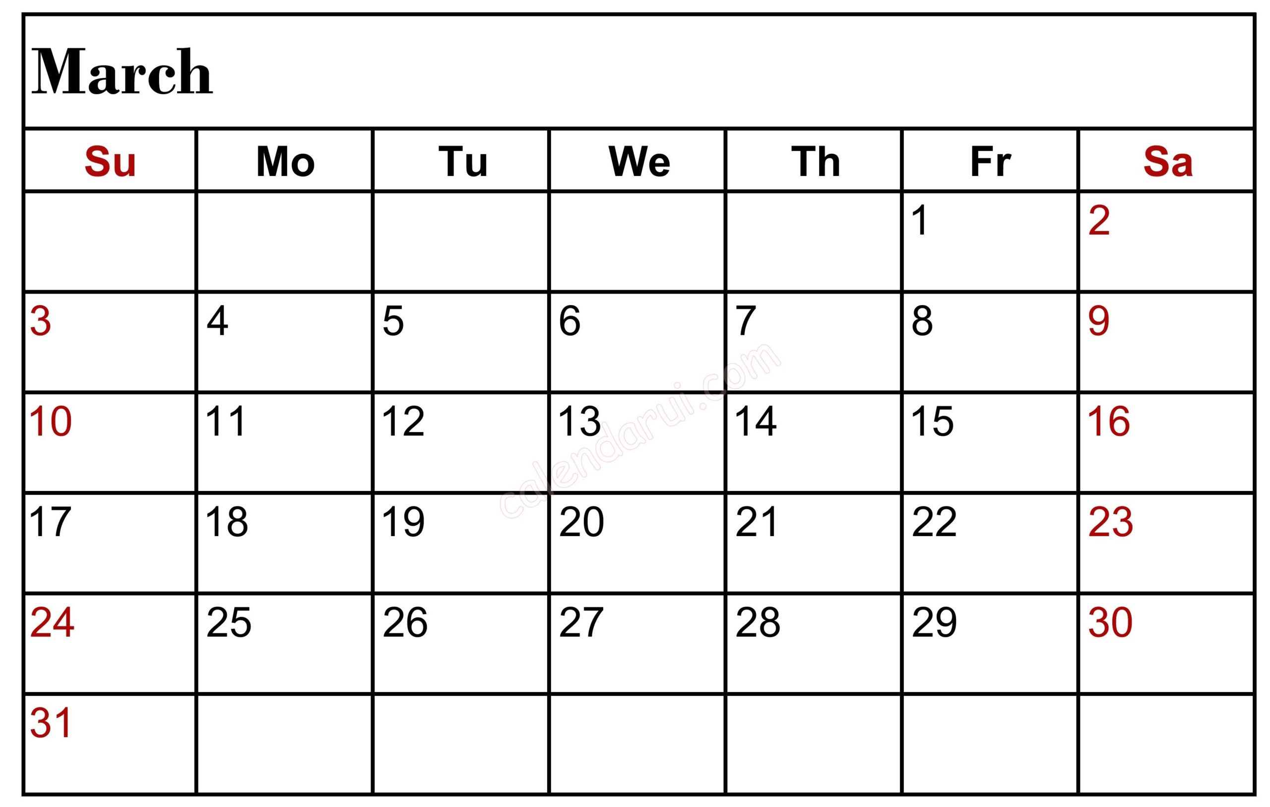 Free March 2020 Calendar With Holiday