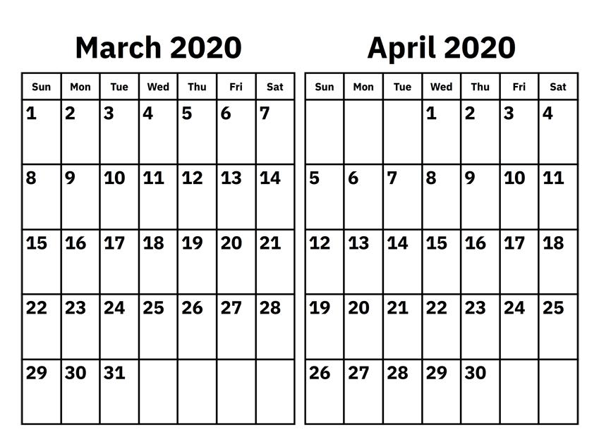 Free March April 2020 Calendar
