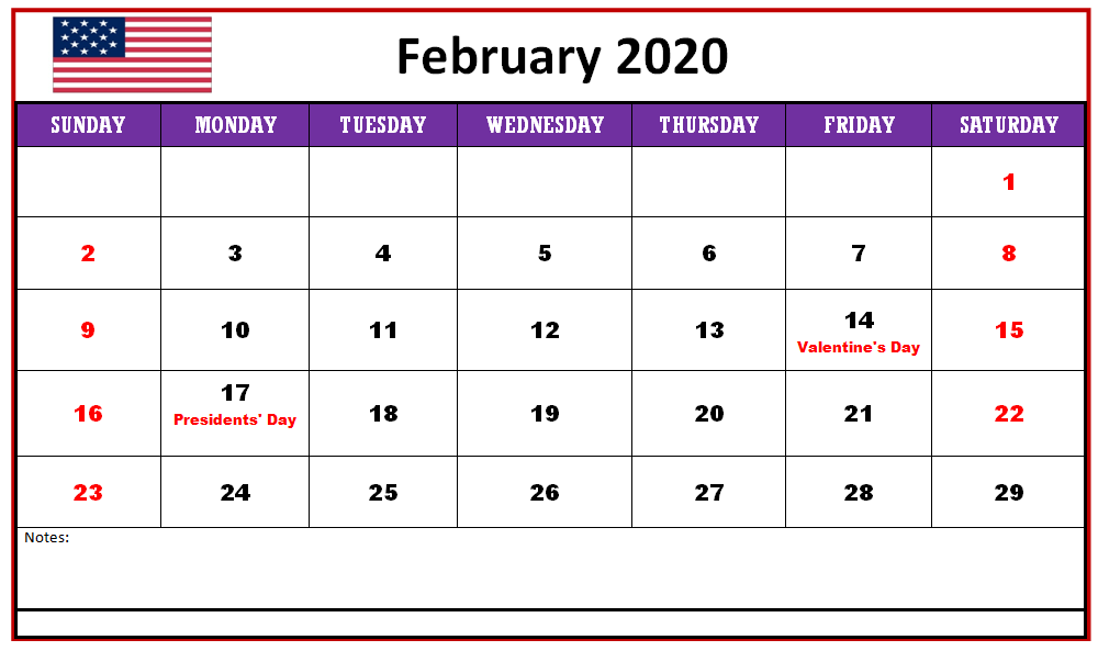 Free Printable 2020 Calendar February