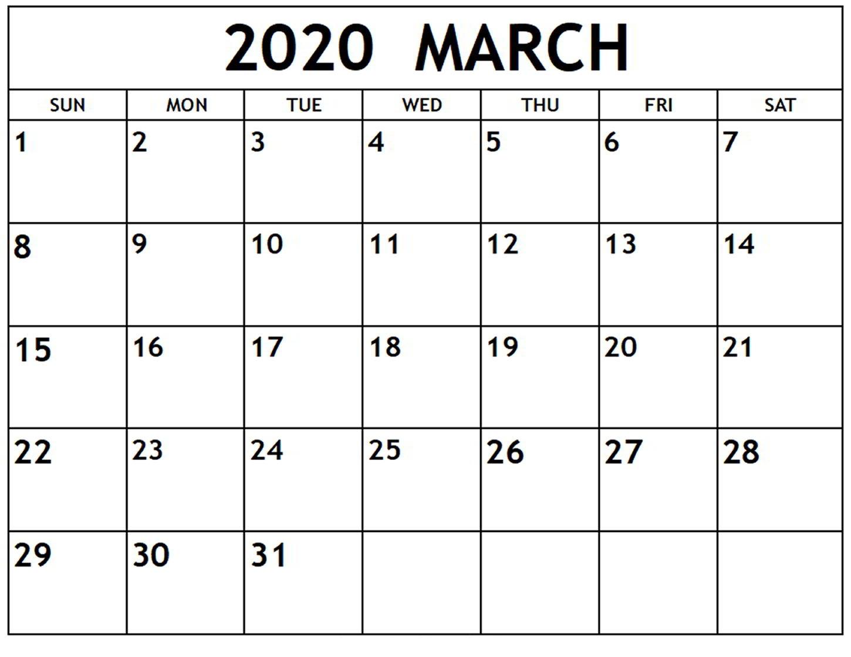 Free Printable 2020 Calendar March 2020