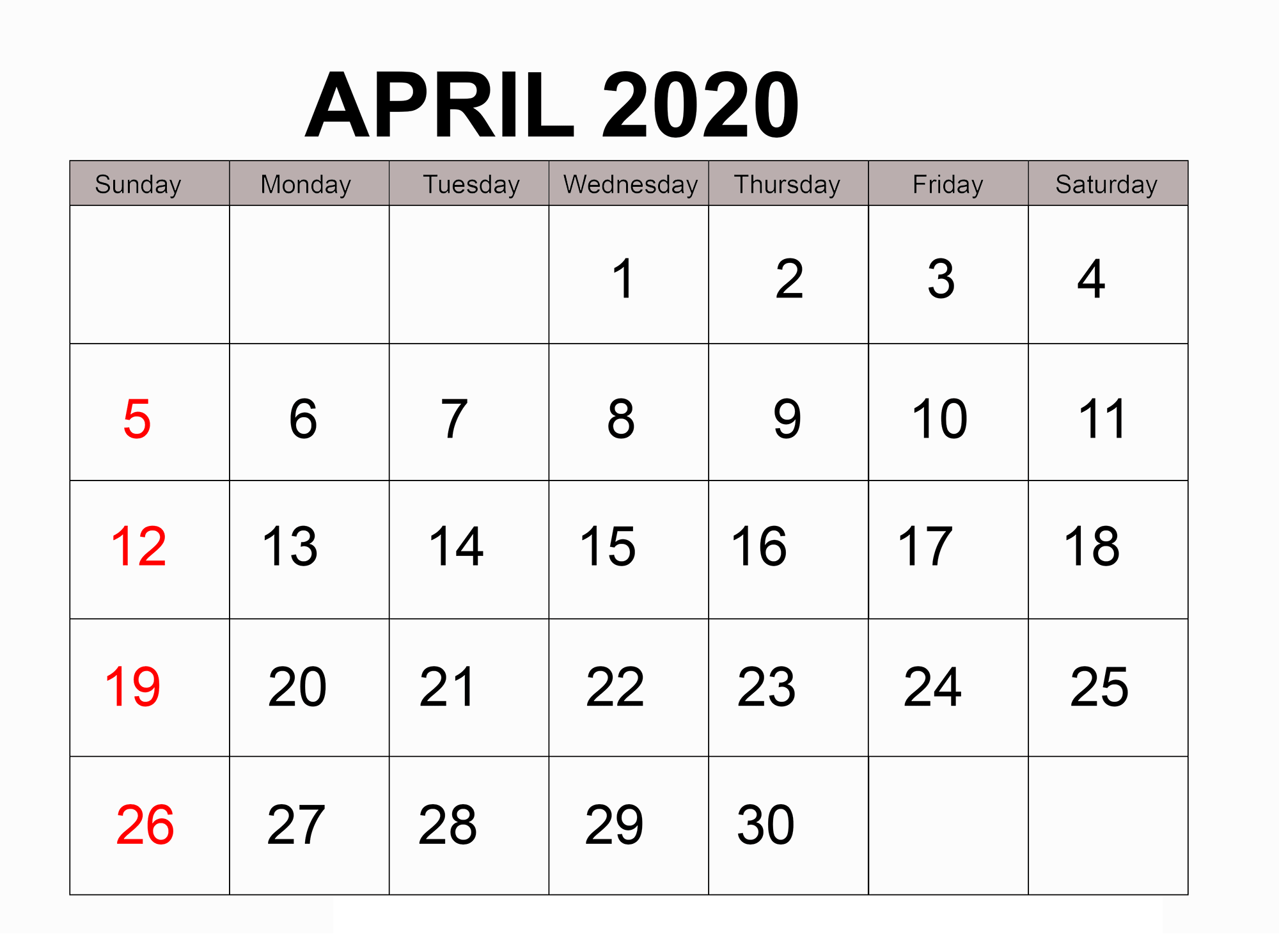 Free Printable Calendar April 2020 Design