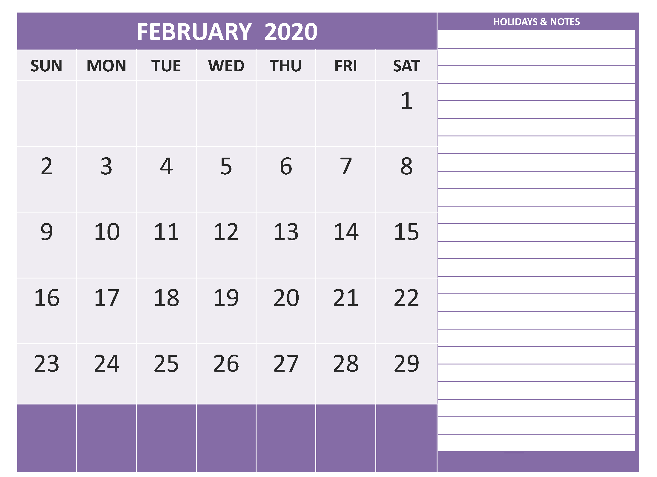 Free Printable Calendar February 2020 For Kids